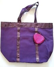 Vera Wang Parfums Purple Tote Bag with Matching Purse and Sequinned Trim