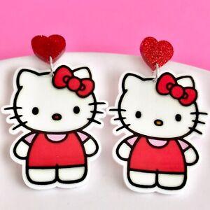 Cute Hello Kitty Dangle Fun Earrings/ Quirky Cat Kitten