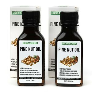 2 PACK 100% SIBERIAN PINE NUT OIL EXTRA VIRGIN FIRST COLD PRESSED 100 ml /3.4 oz