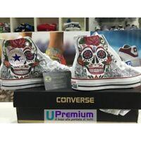 Converse All Star Teschio Mexican Scarpe Disegnate Handmade Paint Uomo Donna Cla