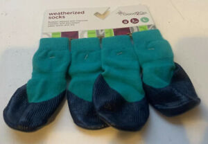 Good2Go Weatherized Socks Rubber Dipped Sole Teal Blue NEW Size L