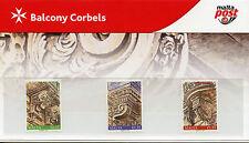 Malta 2017 MNH Balcony Corbels II 3v Set Presentation Pack Architecture Stamps