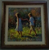Vincent Silvano-SPRING WALK-Custom Framed Orig.Oil Painting on Canvas with COA.