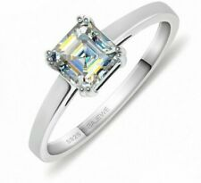 0.8ct 5.5mm 18K White Gold Plated 925 Silver Moissanite Ring For Woman Gifts