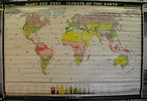 Schulwandkarte Beautiful Old Klimakarte World Map 211x140 Vintage Climate 1968