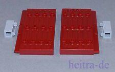 LEGO - 2 x Burgtür Tür 1x5x7 1/2 dunkelrot mit Scharniersteinen / 30223 NEUWARE