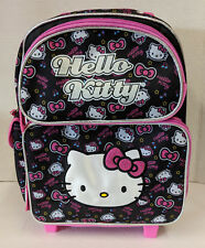 "HELLO KITTY TODDLER ROLLING BACKPACK! BLACK COLORFUL FACES SMALL ROLLER 12"" NWT"