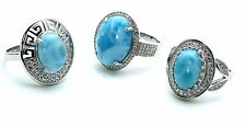 Larimar Natural (Wholesale) 3 Rings NEW Premium Jewelry. .925 Sterling Silver