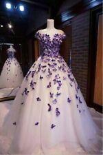 Vintage Wedding Dress Purple Butterflies Applique A Line Bridal Gown Custom Size