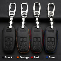 For Audi Q3/Q5/Q7A4 Remote Smart Key Fob Case Holder Cover High Quality Leather