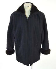 Vtg 90s ANDREW MARC Soft Faux Fur Trim Black Quilted Puffer Coat Jacket Womens S