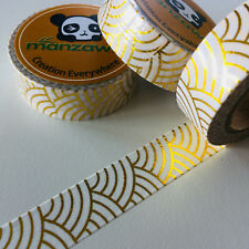 WASHI TAPE GOLD FOIL JAPANESE WAVE 15MM X 10MTR PLANNER CRAFT WRAP SCRAP MAILART