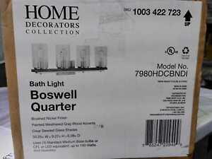 Home Decorators Boswell Quarter 4-Light Brushed Nickel Vanity Light