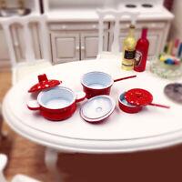 3PCS 1:12 Dollhouse Miniature Red Dot Frying Pan Pot Cooking For Kitchen Ki U9D7