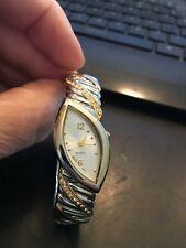 Accutime Ladies Gold Tone Quartz Watch with Rhinestone Bangle Style Band