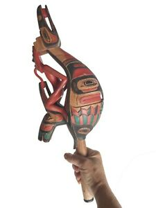 Tlingit Shaman Reproduction Raven Rattle hand carved Pacific NW Native American