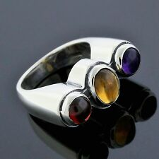 Estate Sterling Silver Cabochon Amethyst Red Garnet Yellow Citrine Ring Size 6