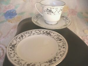 A BEAUTIFUL BLACK LACE CUP SAUCER PLATE BY NORITAKE No2881