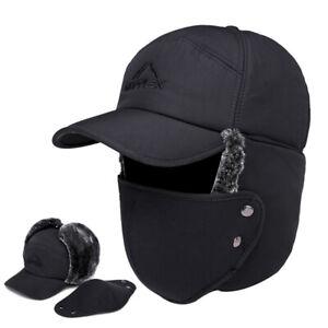 Men Aviator Trapper Trooper Hat Winter Earflap Warm Face Mask Ski Cap Windproof