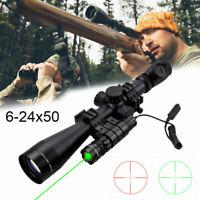 Zielfernrohr 6-24x50mm mit Rot Grün Leuchtpunktvisier für Luftgewehr Armbrust#