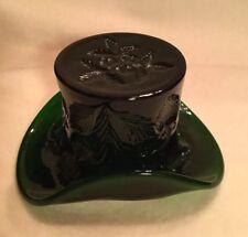 RARE VINTAGE CAMBRIDGE Glass NEAR CUT Dark Green TOPPER HAT INVERTED STRAWBERRY