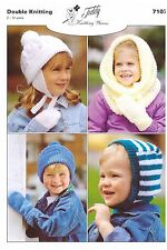 7107 Knitting Pattern in DK for Children's Hats & Mittens