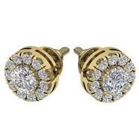 Halo Soliatire Cluster Studs Earrings Rose Gold SI1 G Natural Diamond 1.15Carat