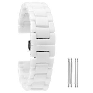Black/White 18/20/22mm Ceramics Watch Band Wrist Strap Bracelet Straight End