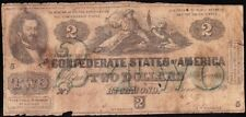"""Affordable T-43 1862 $2 """"Green Overprint"""" Confederate CSA Note! FREE SHIPPING!"""