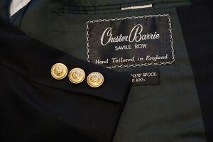 Chester Barrie Savile Row Alderton Regency Navy Blue Wool Gold Btn Blazer 44R