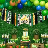 Banner Jungle Safari Canvas Animals Zoo Decor Happy Birthday Party Balloons Sets