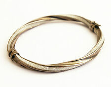 Glitter Twisted Hinged Milor Bracelet 925 Silver Vicenza Chocolate Plated Pave