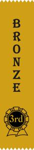 25 Bronze Place Award Ribbons 200 x 50 mm - BLACK print