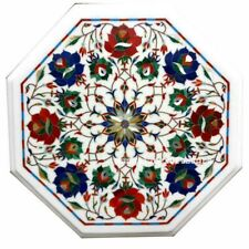 """12"""" Marble corner side Table Top floral inlay work handmade Home decor"""
