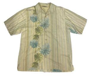 TOMMY BAHAMA 100% Silk Short Sleeve Hawaiian Floral Camp Shirt Shirt Size Large