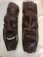 """A Pair Of MCM Hand Carving Hardwood Eames Era Tribal Tiki Large 23.5"""" Long Wow!"""