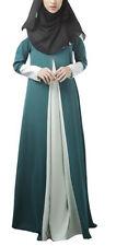 Muslim Women Dress Islamic Color Blocking Maxi  Patchwork Kaftan Arab Gown New M