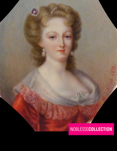 """SIGNED & DATED """"ALLIOT 1893"""" ANTIQUE FRENCH MINIATURE HAND PAINTED Lady Portrait"""