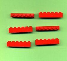 LEGO -- 3009 --- 1 x 6 -- Rosso -- BASIC -- 6 pezzi --