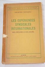ECONOMIE-EXPERIENCES SYNDICALES INTERNATIONALES-GEORGES LEFRANC-1952
