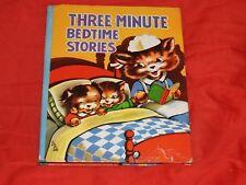 THREE MINUTE BEDTIME STORIES childrens BOOK HC1961 Saalfield Prose & Verse illus