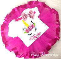 3rd Third Birthday Pink Unicorn Birthday Girl Tutu Outfit Bow Headband Set