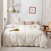 Bedding set 4 pcs Luxury linen & cotton duvet cover bed sheet pillowshames white