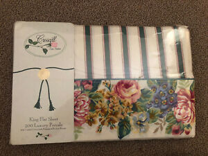 Vintage Croscill Nelson Floral Stripe King Flat Sheet NIP MiNT