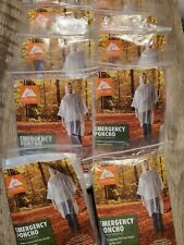 Pack of 10 Disposable Emergency Rain Ponchos, Clear