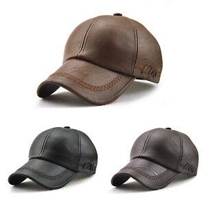 Men Baseball Cap Hats Outdoor Casual Adjustable Sport PU Leather Hat Caps Retro