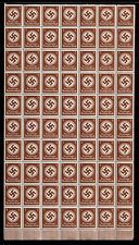 AMAZING NAZI RARITY! SHEET OF 35 MINT NEVER HINGED FULLY GUMMED SWASTIKA STAMPS!
