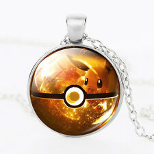 Pokemon Eevee Ball Cabochon Glass Dome Silver Chain Pendant Necklace E7