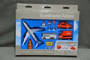 Scandinavian Airlines Airport Play Set & Airbus A340-300 Plane, Bus, Stairs New