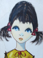 Vintage Mid-Century Modern Oil Painting Girl Pretty Blue Eyes signed Denton